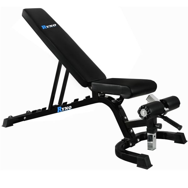 Ryno™ Heavy Duty Flat, Incline, Decline Weight Bench - Black/Silver